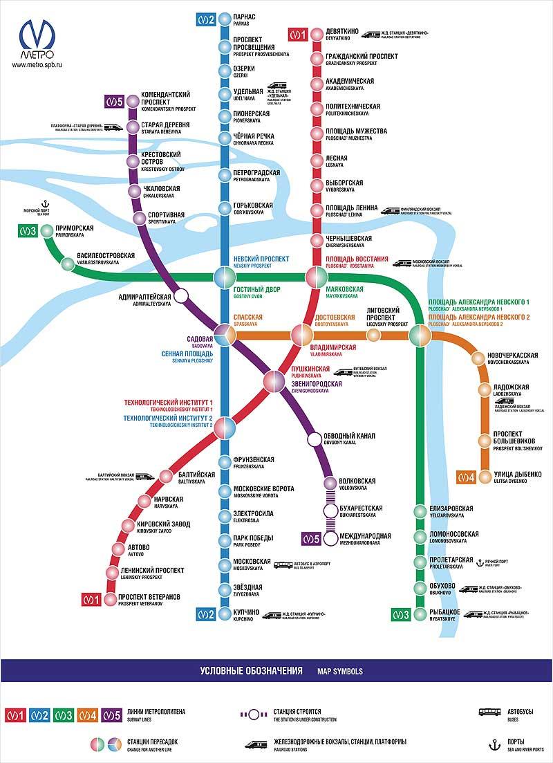 Карта схема метро санкт петербурга