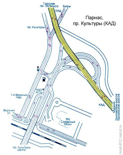 Парнас, проспект Культуры, КАД. схема движения автотранспорта на развязке Пулковское шоссе, КАД (СПб) .