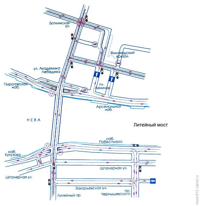 схема транспортной развязки Литейного моста. схема транспортной развязки моста Александра Невского.